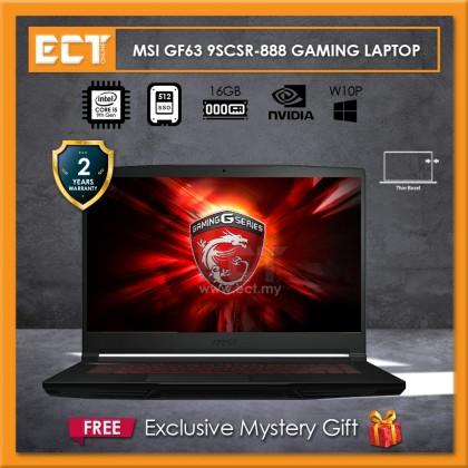 "MSI GF63 9SCSR-888 Gaming Laptop (i5-9300H 4.10GHz,512GB SSD,4GB,GTX 1650 Ti 4GB,15.6"" FHD,W10)"