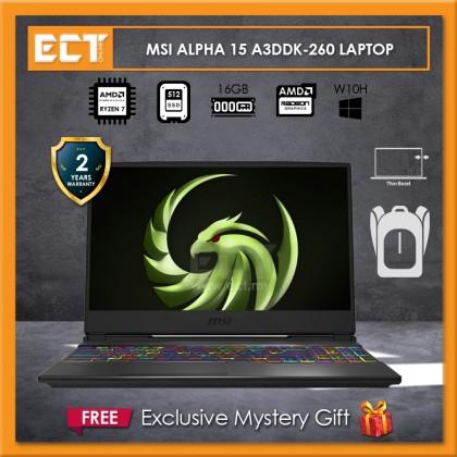 """MSI Alpha 15 A3DDK-260 Gaming Laptop (R7 3750H 4.0GHz,512GB SSD,16GB,RX 5500M 4GB,15.6"""" FHD,W10)"""