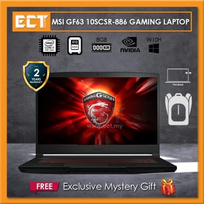 "MSI GF63 10SCSR-886 Gaming Laptop (i7-10750H 5.00GHz,512GB SSD,8GB,GTX 1650 Ti 4GB,15.6"" FHD,W10)"