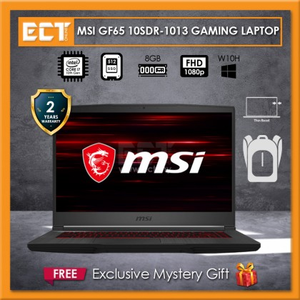 "MSI Thin GF65 10SDR-1013 Gaming Laptop (i7-10750H 5.00GHz,512GB SSD,8GB,GTX 1660 TI 6GB,15.6"" FHD,W10P)"