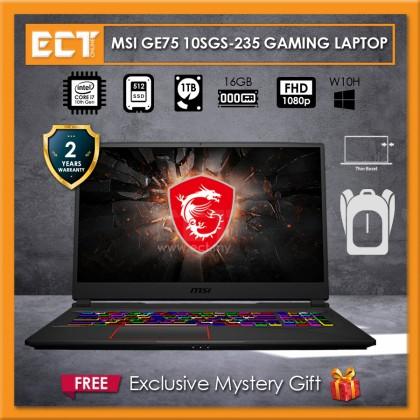 "MSI Raider GE75 10SGS-235 Gaming Laptop (i7-10750H 5.00GHz,512 SSD+1TB,16GB,RTX 2080 Super 8GB,17.3"" FHD,W10)"