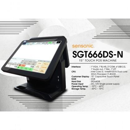 "Sensonic SGT666VFD Customer Display POS Machine (Celeron 1037U 1.80GHz,64GB SSD,2GB,15"" Touch,W7P) - Black"