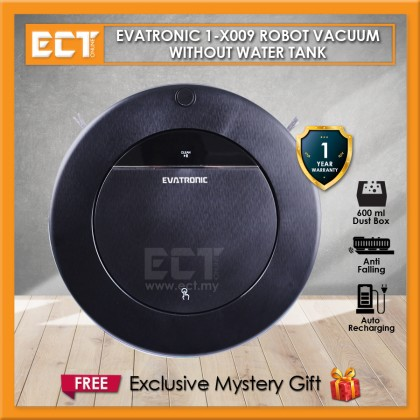 Evatronic 1-X009 Robot Vacuum Cleaner with/without Water Tank, Wet and Dry Mop